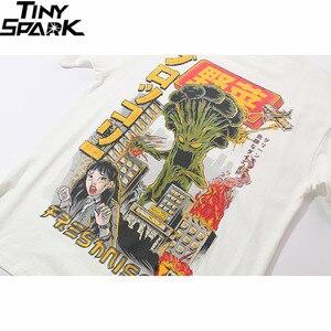 Image 4 - T shirt surdimensionné en coton style japonais pour homme, haut, monstre de dessin animé, harajuku, hip hop, streetwear, été, 2020