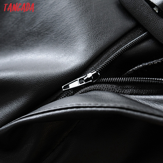 Tangada women black faux leather suit pants high waist pants sashes pockets 2019 office ladies pu leather trousers 6A05 3