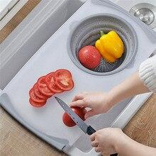 Stół kuchenny elastyczna deska do krojenia silikonowy składany kosz spustowy gotowanie przechowywanie kuchnia rzeczy składany durszlak