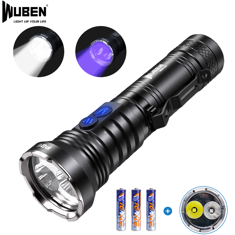 WUBEN 2 In 1 UV Flashlight LED UV Torch 365nm Black Light 500 Lumens White Light Waterproof Ultraviolet Pet Urine Detector P26