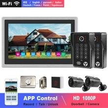 HD Wifi видеодомофон, беспроводной видео домофон, домашняя система управления дверями с 10 дюймовым сенсорным экраном, умный телефон с контролем в реальном времени