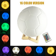 LED Desk Table Night Light 3D Printing Soccer Football light Touch Lamp kids Family Holiday Gift with  Remote Control