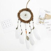 Retro Home Decor Dream Catchers Brown Handmade Feather Dreamcatcher  for Room Car Kids Bed Decoration