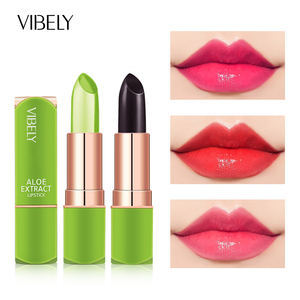 Aloe Vera Moisturizing Lip Balm Color Change Jelly Lipstick Plant Base Long Lasting Non-stick Cup Makeup Lipstick Lip Care TSLM2
