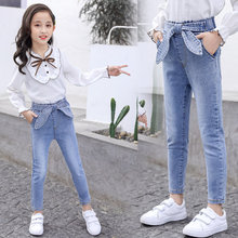 цена на 2020 Spring Kids Jeans Girl Solid Jeans For Girls Fashion Bow Girls Jeans Pants Autumn Skinny Girls Clothes 6 8 10 12 13 Year