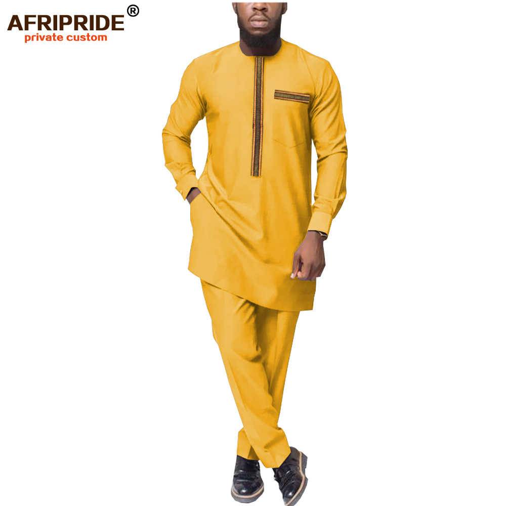2019 African Men Clothing Dashiki Coats+Ankara Pants Clothes Set Attire Bazin Riche Outfit Tracksuit Outwear AFRIPRIDE A1916042
