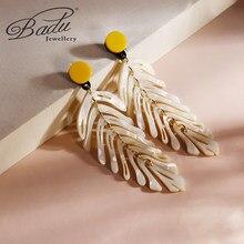 Badu branco acrílico splicing leaf brincos longos para a mulher declaração na moda boho jóias