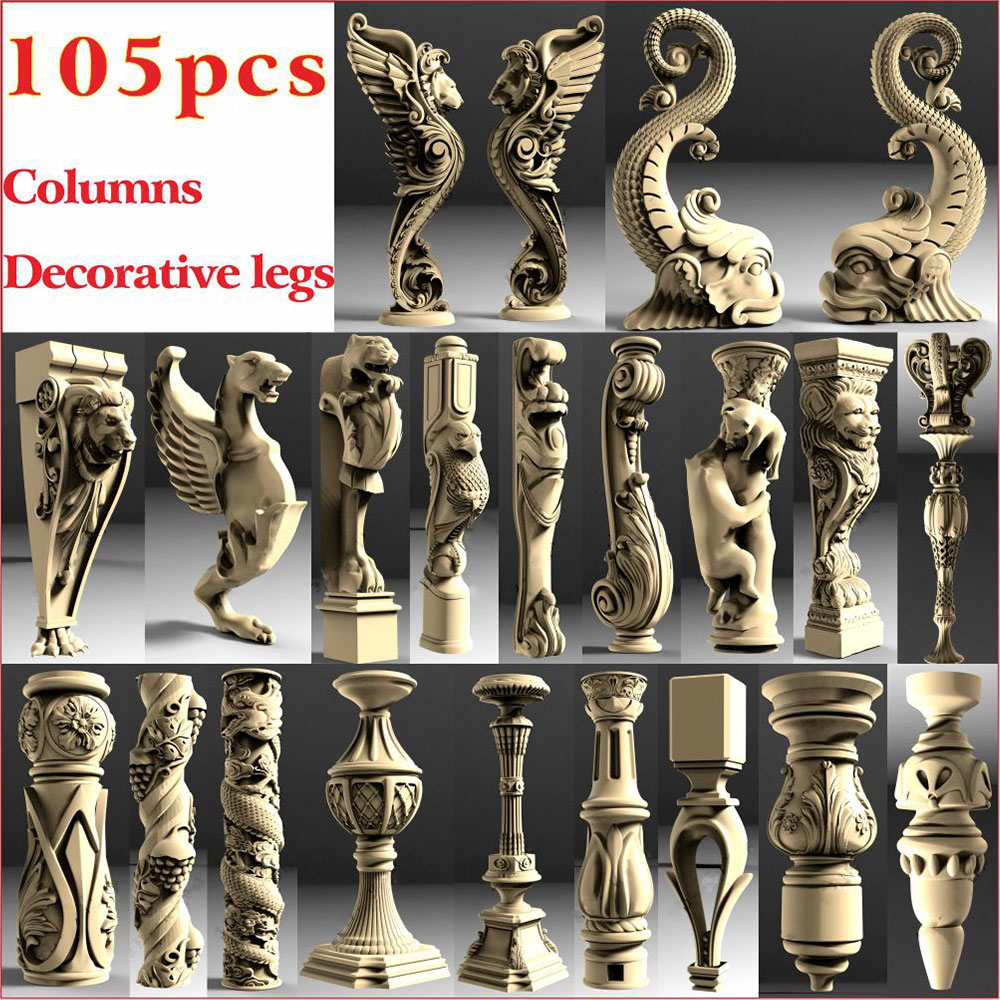 105 Pcs Decorative Legs And Columnss 3D STL Model For CNC 4 AXLE Engraver Carvingbed  Relief For CNC Router Aspire Artcam