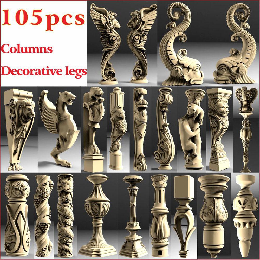105 Pcs Decorative Legs And Columnss 3D STL Model For CNC 4 AXLE Engraver Carvingbed  Relief For CNC Router Aspire Artcam