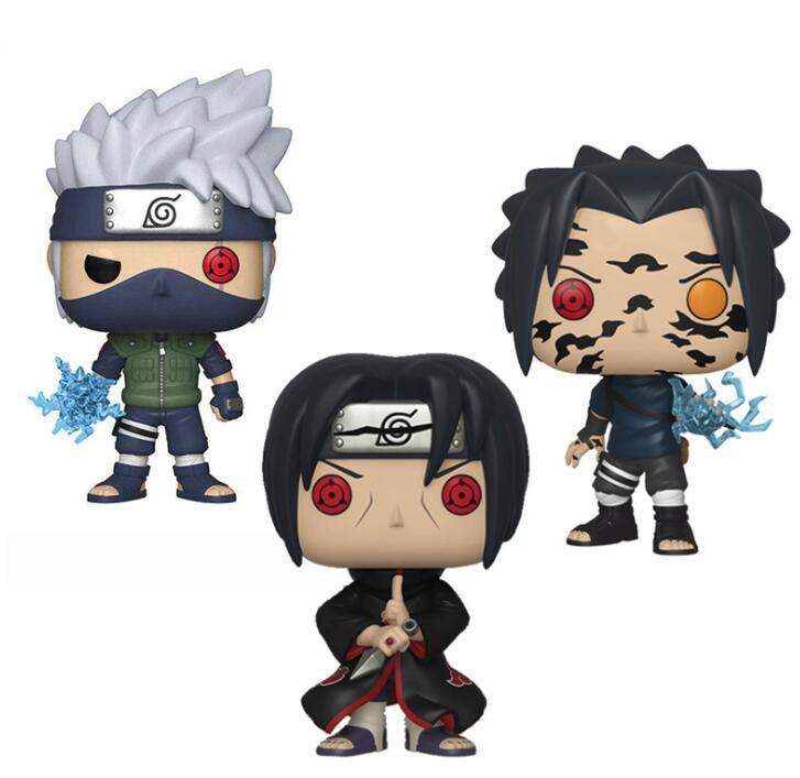Anime Naruto Hatake Kakashi Sasuke Curse Mark Uchiha Itachi Figure Collection Vinyl Doll Model Toys