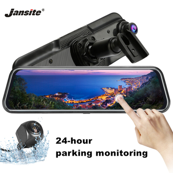 цена на Jansite 10 inch 1080P Dual Cam Mirror Dash Camera Auto Driving Recorder Car DVR Parking Mode Loop recording Witht Bracket