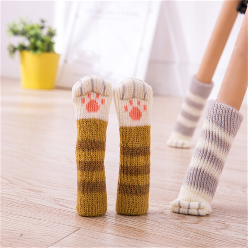 WHISM 4pcs Cute Furniture Leg Feet Rug Caps Felt Pads Anti Slip Mat Bumper Damper Table Protector Cat Claw Chair Leg Socks