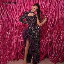 Женское вечернее платье с блестками janevini фиолетовое асимметричное