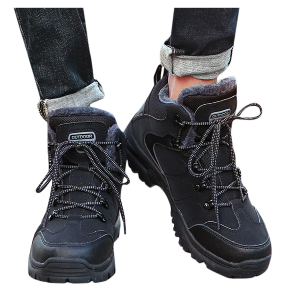 High tops Outdoor Men's Sneakers Winter Mountaineer Keep Warm Plush Inside Man Shoes Comfortable Sport Casual Male Hiking Boots