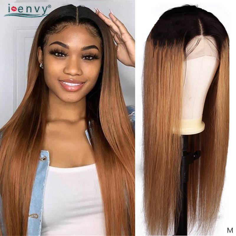 1B 30 Lace Front Human Hair Wigs 13X4 Brown Long Straight Wig Pre Plucked Brazilian Ombre Blonde Lace Front Wig For Women Remy