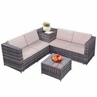 4 Pcs Stahl Rattan Wicker Möbel Set Gepolsterten Sofa Wasserdichte Lagerung Box Zeitgenössische Outdoor Tische Stühle Lounge Set auf