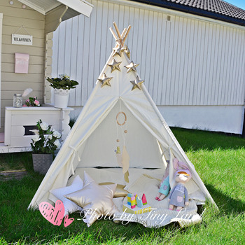 Teepee Tent for Kids with Floor Mat & Carry Case Children Playhouse  for Indoor Outdoor- White Cotton Canvas Tipi