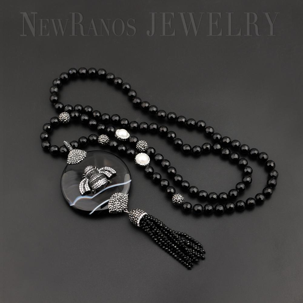 Collier de perles en pierre naturelle cubique zircone abeille pendentif 80cm longue chaîne collier bijoux de mode pour les femmes cadeau N002YZ120