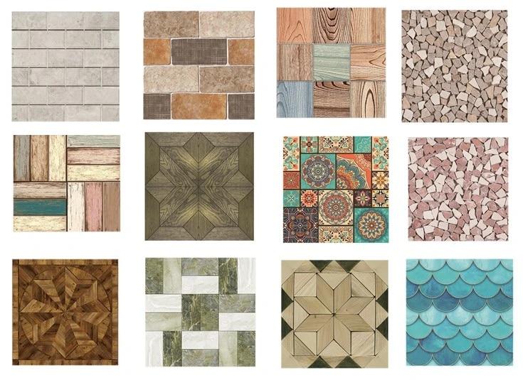Modern 3D Wall Tile Stickers Waterproof Self-adhesive Bathroom Floor Decals Home