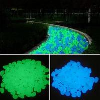 50/100 pçs brilho no jardim escuro seixos pedras brilho pedras para passarelas decoração do aquário plantas jardim quintal pedras luminosas|Pedras decorativas|   -