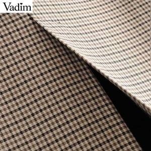 Image 5 - Vadim elegante para mujer houndstooth plaid midi falda cremallera fly bolsillos dividido a cuadros mujer Oficina wear chic faldas BA895