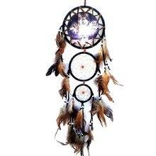 2018 Creative Wall Decorations Wolf Pattern Indian Dreamcatcher Retro Feathers Ornament Dream Catcher Home Decor PGM