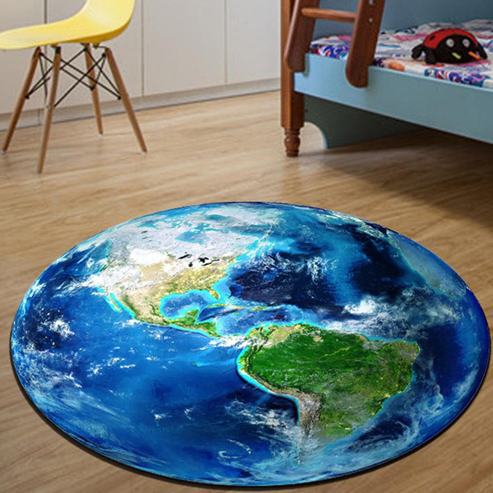 Round Earth Moon Planet 3D Print Soft No-fade Carpet Durable Anti-slip Rug Floor Mat Home Decoration