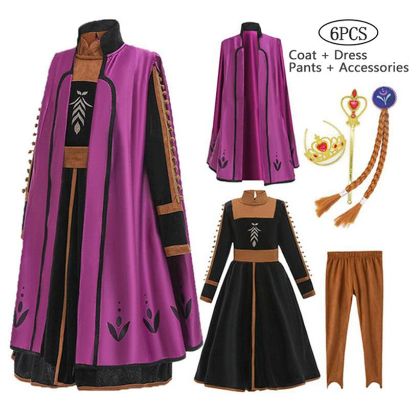 New 2020 2 Anna Elsa Dress Girls Kids Dresses For Girls Costume Elegant Princess Dress Carnival Cosplay Party Children Clothing