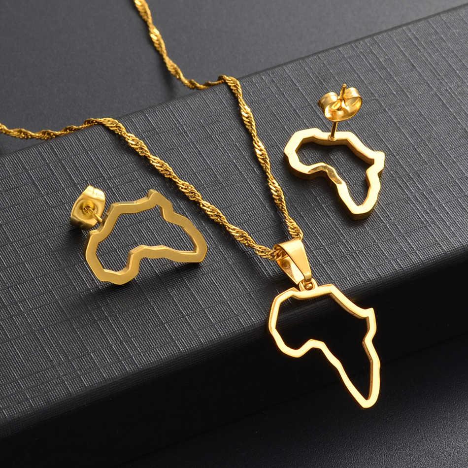 Anniyo Kecil Afrika Garis Peta Kalung Stud Anting-Anting Set Warna Emas Stainless Steel Afrika Peta Pesta Perhiasan Set #152521
