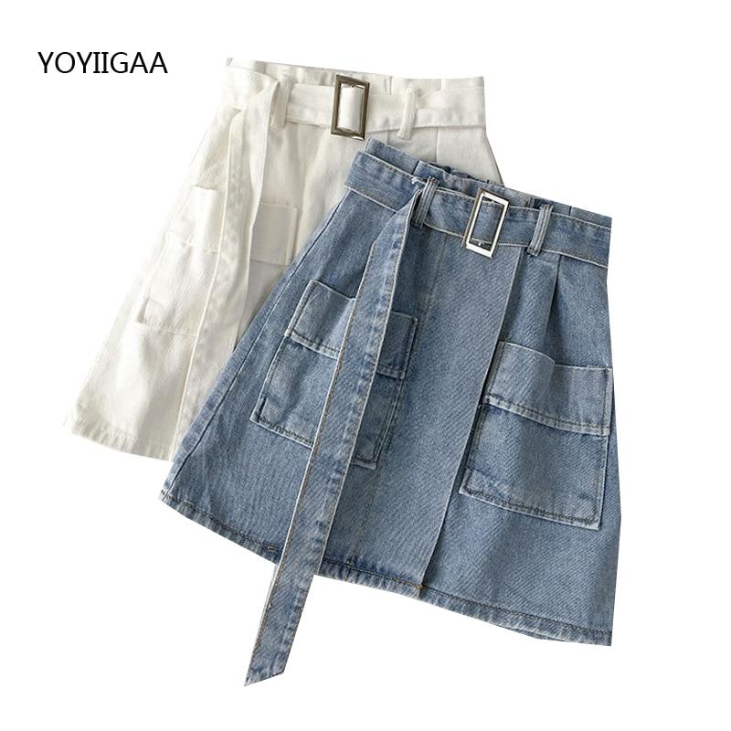 Summer Denim Mini Skirt With Belt Fashion Women Short SKirts High Waist A-Line Ladies Mini Skirts Harajuku Women's Denim Skirt