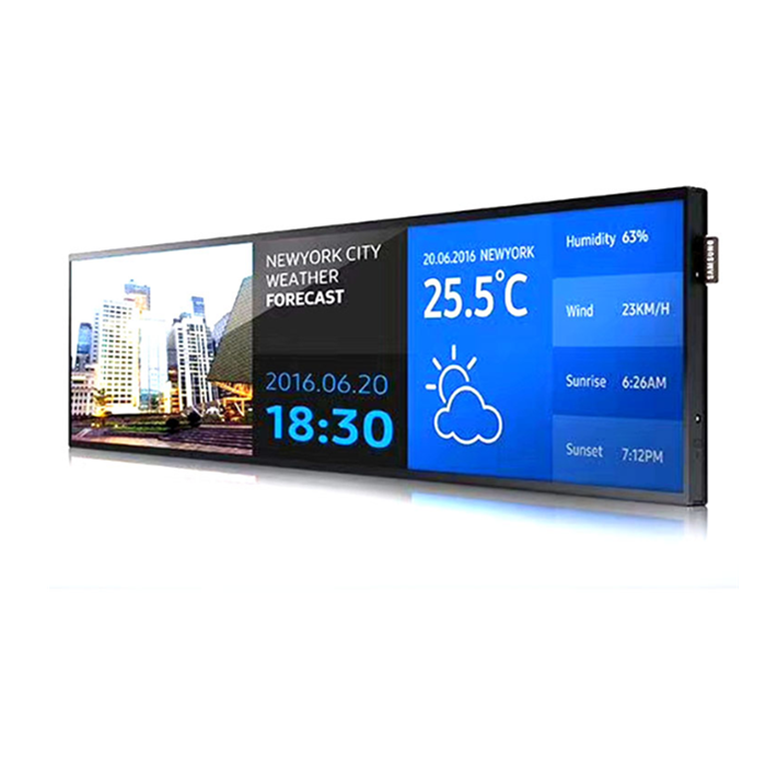38'' Inch Fhd Ultra-wide Stretched Led Advertising Android Smart Wifi Lcd Screen Shelf Bar Display