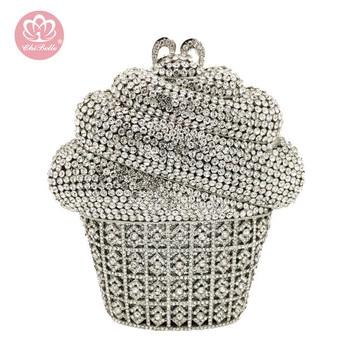 Bolso de mano de noche con forma de crema Chi Belle, bolsa de lujo en polvo de cristal brillante con diamantes de imitación, bolso bling mini 2020, bolso bonito