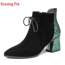 Krazing pot schapen suède Europese print skin lace up charmant winter warm houden puntschoen hoge hakken nachtclub enkellaars l11(China)