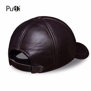 Image 5 - HL023 Spring genuine leather men baseball cap hat  high quality mens real leather adult solid adjustable snapback earsflap hats