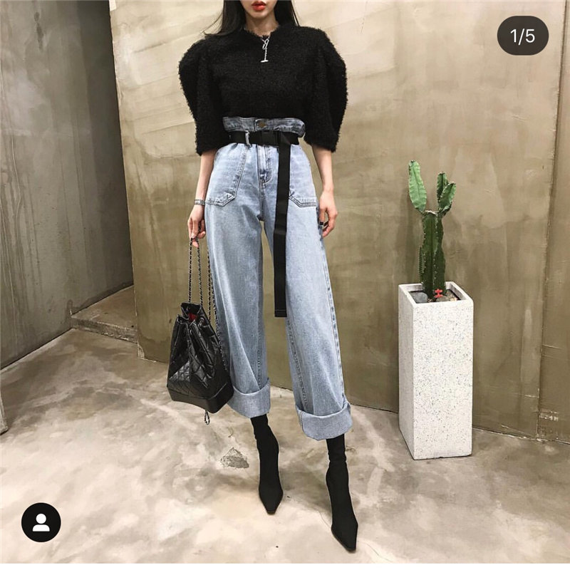 HziriP 2020 Streetwear Jeans Fashion Loose High Waist Fresh Stylish All-Match Straight Pockets Women Office Lady Denim Trousers