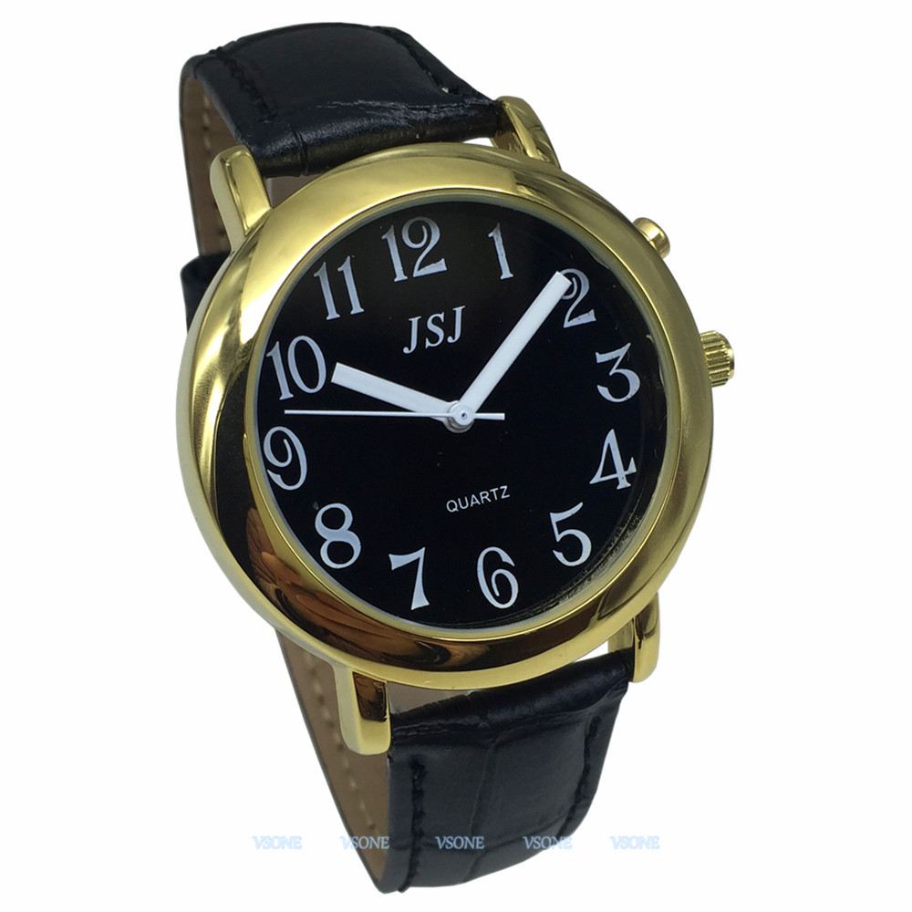 English Talking Watch With Alarm Function, Talking Date And Time, Black Dial, Black Leather Band, Golden Case TAG-607