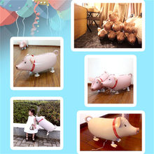 1 Pcs 30g Cute Pink Pig Farm Animals Zoo Walking Pet Animals Pig Safari Party Foil Balloon Kids Birthday Party Decoration(China)