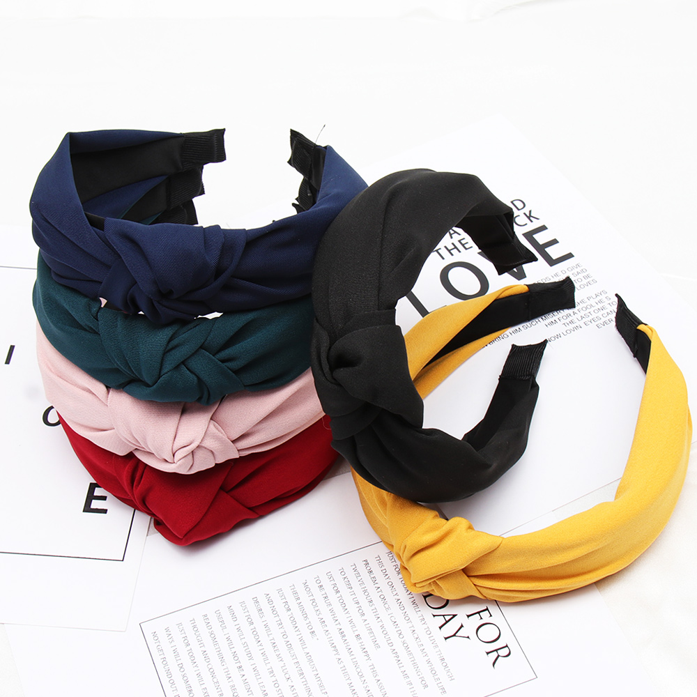 Solid Color Knot Headbands for Women Simple Fabric Girls Hairband Women Hair Accessories Wide Side Hair Band in Women 39 s Hair Accessories from Apparel Accessories