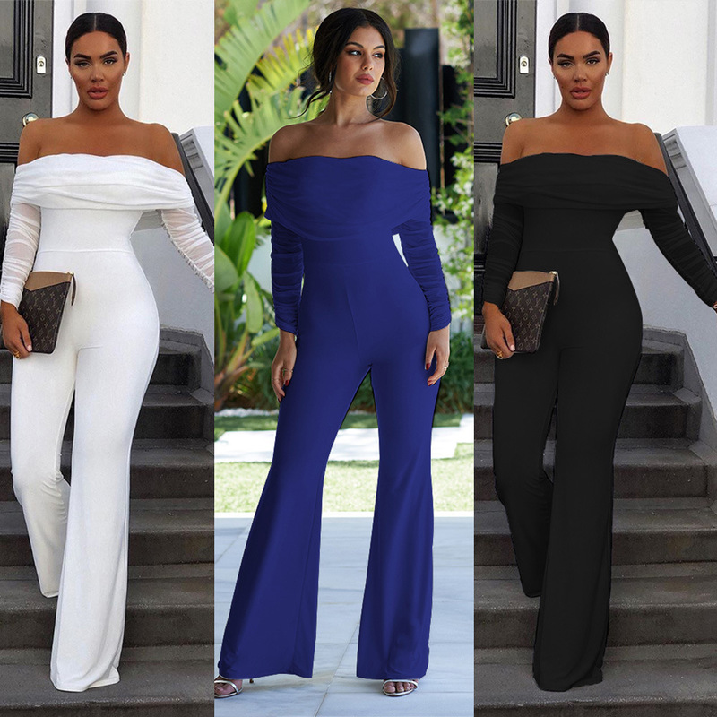 Rompers Womens Jumpsuit Ladies Jumpsuits Overalls Woman Women's Long Elegant Women Pure Color Stitching Sleeve White Fold Dinner