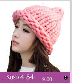 Simple girl Casual Cotton Acrylic Rushed New Fashion Female Winter wool Hats Hand Coarse Knitted Hat For Women Beanies 24