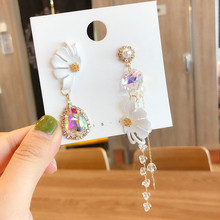 2019 New Arrival  Crystal Trendy Women Dangle Earrings Korean Sweet Pearl Flower Tassel White Petal Jewelry