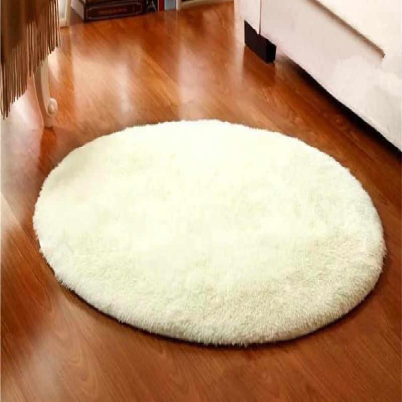 ソフトシャギーラウンドカーペット寝室のフロアマット椅子カバー寝室のマットウールウォームシートラウンド敷物