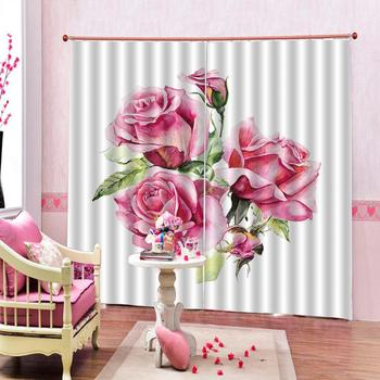pink flower curtains Customized size Luxury Blackout 3D Window Curtains For Living Room Decoration curtains