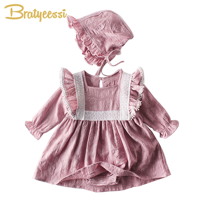 2020 Baby <font><b>Dress</b></font> Romper with Hat Long Sleeve Lace Baby Girl <font><b>Dress</b></font> Princess <font><b>Birthday</b></font> <font><b>Dresses</b></font> Infant Girls Clothes <font><b>2</b></font> Colors image