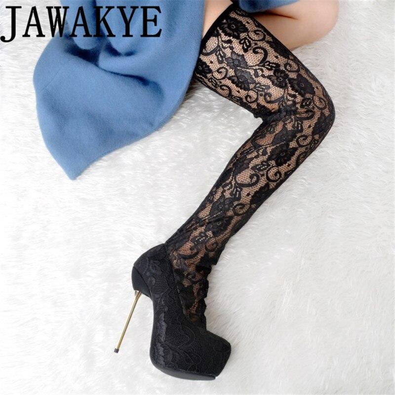 Sexy de renda preta Coxa Botas Altas das mulheres de metal 14.5 centímetros de super Saltos Altos Sobre o Joelho botas meia sapatos mais tamanho botas longas