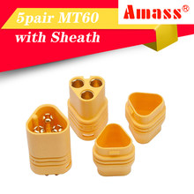 High Quality Amass MT60 Motor Plug Connector Set for RC Multicopter Quadcopter Airplane 5 pair MT60 connector with sheath