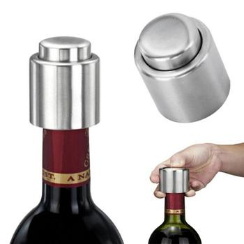 Stainless Steel Wine Stopper Champagne Cork Portable Sealing Machine Stopper Wine Cork Sparkling Wine Cap Bar Bottle Protector image