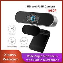 Novo xiaovv 1080p usb webcam câmera ultra grande ângulo foco automático com microfone embutido para computador portátil ensino em linha