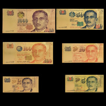 RH 6 unids/lote, conjunto de dólares de Singapur, 2, 5, 10, 50, 100, 1000, oro, 99999, billetes de banco, nota para decoración de colección, regalos de cumpleaños