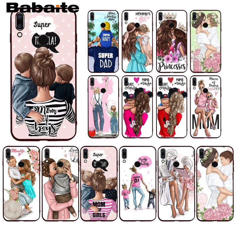 Babaite Fashion Black Brown Hair Baby Mom daughter Girl Son Sup Dad Phone <font><b>Case</b></font> for <font><b>Huawei</b></font> <font><b>P20</b></font> P30 Pro <font><b>P20</b></font> P30 P10 <font><b>Lite</b></font> P <font><b>Smart</b></font> image